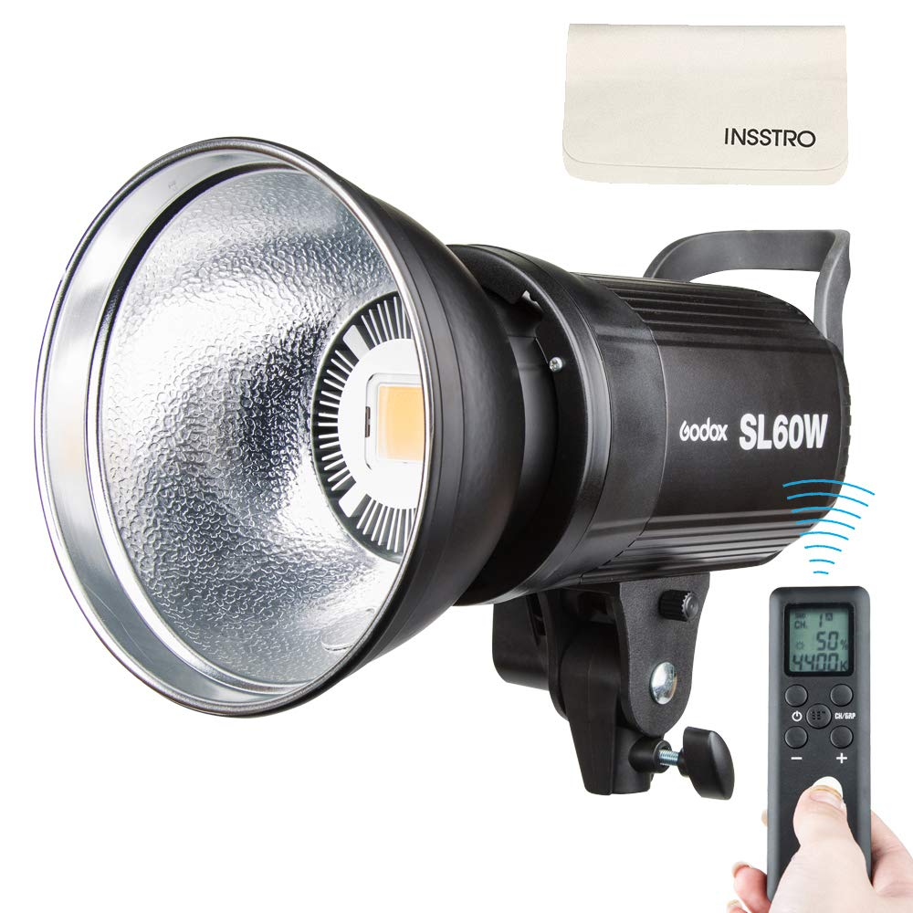 Godox SL-60W 60W LED Studio Light,5600±300K Remote Control, Continous LED Lighting with Bowens Mount for Outdoors,DSLR, Canon, Nikon, Pentax, Panasonic,Sony, Olympus Digital SLR Cameras