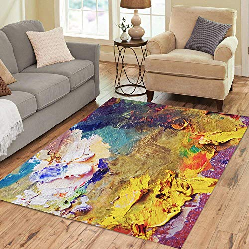 Artist Studio Collection Rug - Semtomn Area Rug 5' X 7' Green Canvas Palette Pink Artist Oil Color Abstract Paint Home Decor Collection Floor Rugs Carpet for Living Room Bedroom Dining Room