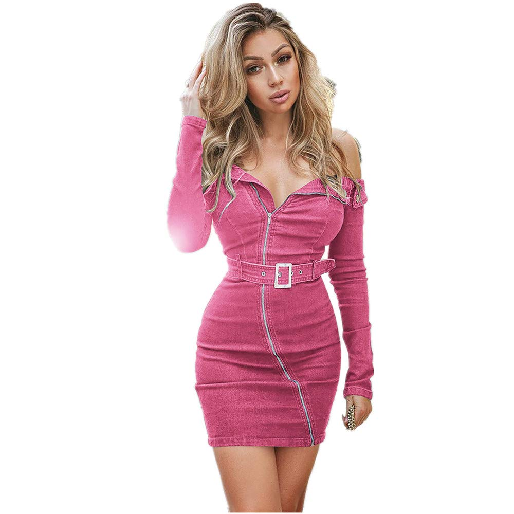 Womens Wrap Dresses Holiday Sexy Long Sleeve Solid Off Shoulder Bodycon Dress Beach Party Mini Dress Pencil Skirts (S, Pink)