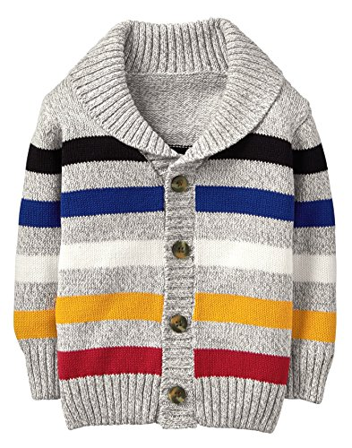 Crazy 8 Toddler Boys' Long Sleeve Button up Shawl Cardigan, Tan/Multi Stripe, 12-18 - Stripe Multi Tan