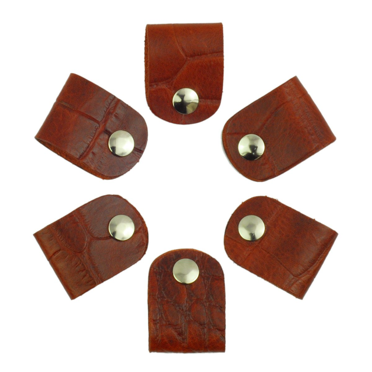 Leather Cord Orangizer Clips Set, 6 Snap Closed Pieces, Mahogany