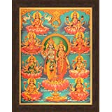 Avercart Goddess Laxmi / Shri Lakshmi / Laxmiji / Goddess of Wealth with Lord Vishnu / Ashta Lakshmi / Laxmi Mata with 8 Forms of her Poster 30x40 cm with Photo Frame (12x16 inch framed)