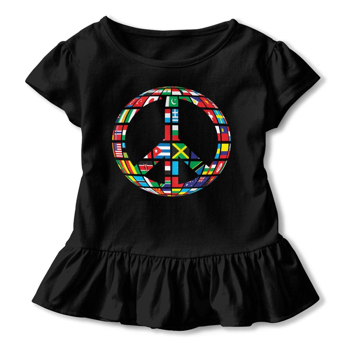 JVNSS Working Together for Peace Shirt Design Toddler Flounced T Shirts Clothes for 2-6T Kids Girls