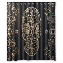 "Innovation Print Design Vintage Art Sugar Skull Shower Curtain Mildew Waterproof Polyester Fabric Bathroom Shower Curtain 60"" x 72"" Inch"