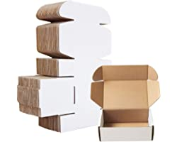 """Corrugated Mailer,Small Cardboard Shipping Boxes,6"""" x 4"""" x 2"""" Oyster White (Pack of 25)"""