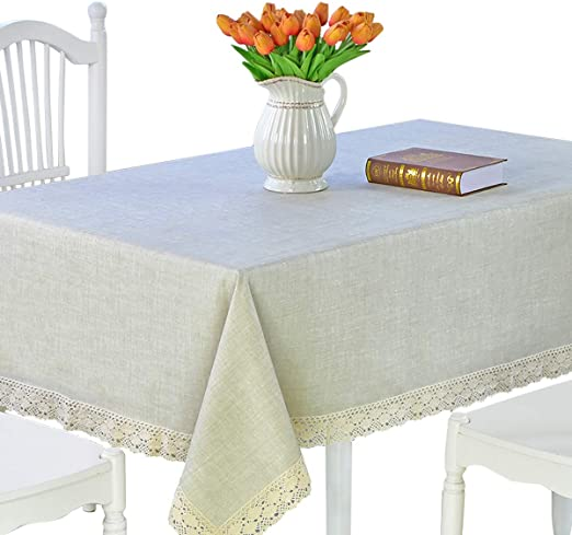 LINEN LOOK PLAIN LIGHT GREY LARGE CHECKED PVC PLASTIC OIL VINYL TABLE CLOTH
