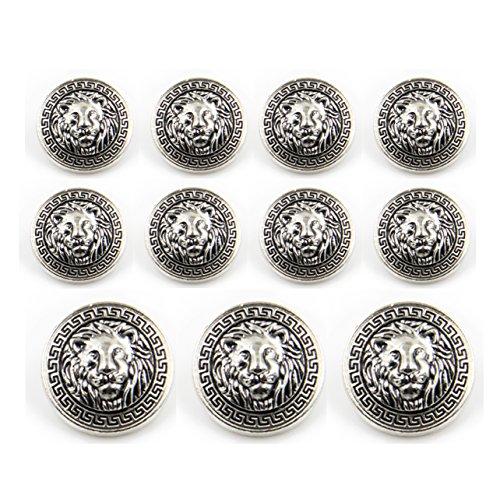 11 Pieces Silver Vintage Antique Metal Blazer Button Set - 3D Lion Head - for Blazer, Suits, Sport Coat, Uniform, Jacket 15mm 20mm