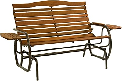 Care 4 Home LLC Outdoor Garden Wood Glider Bench Trays, Extra Small Side Tables, Functional, Durable Versatile, Ideal for Yard, Park, Patio Furniture + Expert Guide