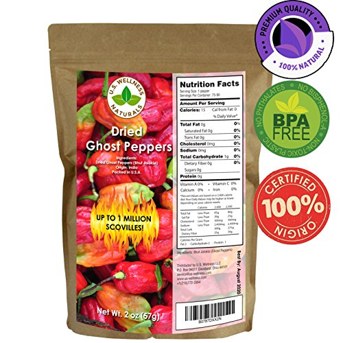 Ghost Peppers- Bhut Jolokia Chillis, 2 oz bag, over 75 peppers, Hotter than a Jalapeno, a U.S. Wellness and Naturals Product (Whole Indian Chilis)