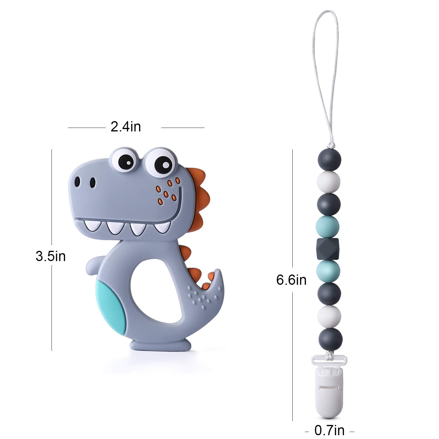 for Boy//Girl Dinosaur Teether with Pacifier Clip Holder Kit Baby Teething Toys by Pandamelon BPA Free Silicone for Newborn Infants