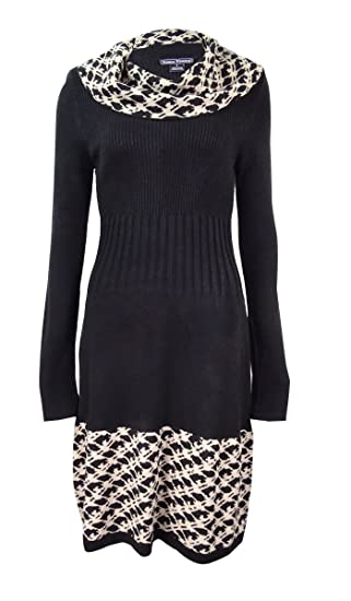 Jessica Howard Womens Petite Cowl Neck Sweater Dress Ps Blacktan