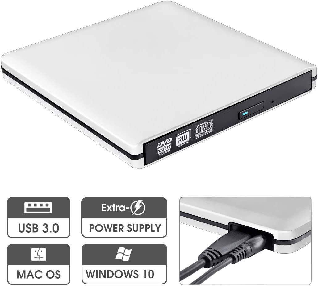 ROOFULL External DVD Drive with Power Supply Cable, Portable USB 3.0 CD DVD +/-RW Optical Drive Burner Player, Compatible for Windows 10 Laptop Computer Surface Pro Mac MacBook Pro Air iMac, Silver