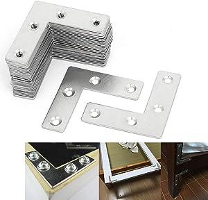 "VintageBee 60PCS Metal L Shaped Flat Fixing Mending Repair Plates Corner Brace Brackets (2"" x 2"" x 0.04"")"