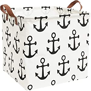 ESSME Square Storage Bin,Cotton Fabric Laundry Baskets,Collapsible Waterproof Toy Storage Bin with Handles for Family Storage,Shelf Baskets (Square Anchor)