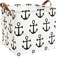 ESSME Square Storage Bin,Cotton Fabric Laundry Baskets,Collapsible Waterproof Toy Storage Bin with Handles for Family…
