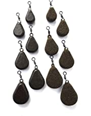 BZS Carp fishing Weights Flat Pear with Swivel available in Smooth or Textured Finish 1.5oz 2oz 2.5oz 3oz 3.5oz 4oz 5oz 6oz (Pack of 10)