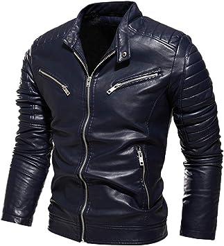 メンズコート・ジャケット-メンズレザーPUレザージャケットモーターサイクルジャケットとベルベットで保温
