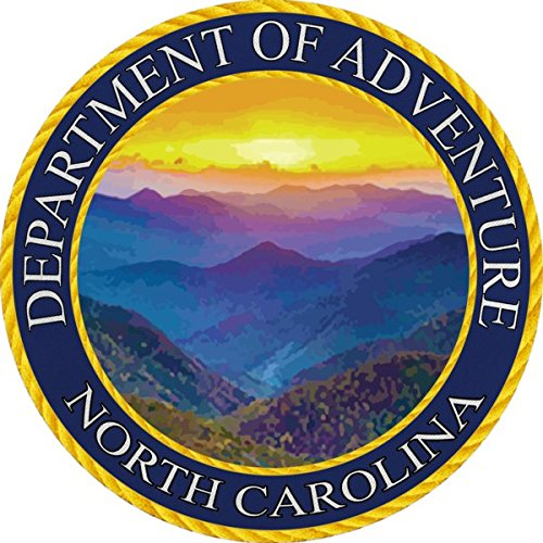 North Carolina State Seal Sticker Dept of Outdoor Adventure | Blue Ridge Mountain | Apply to Water Bottle Decal Laptop Computer Car Bumper Oval Magnet | WNC Asheville Parkway Smokey Mountain NC State