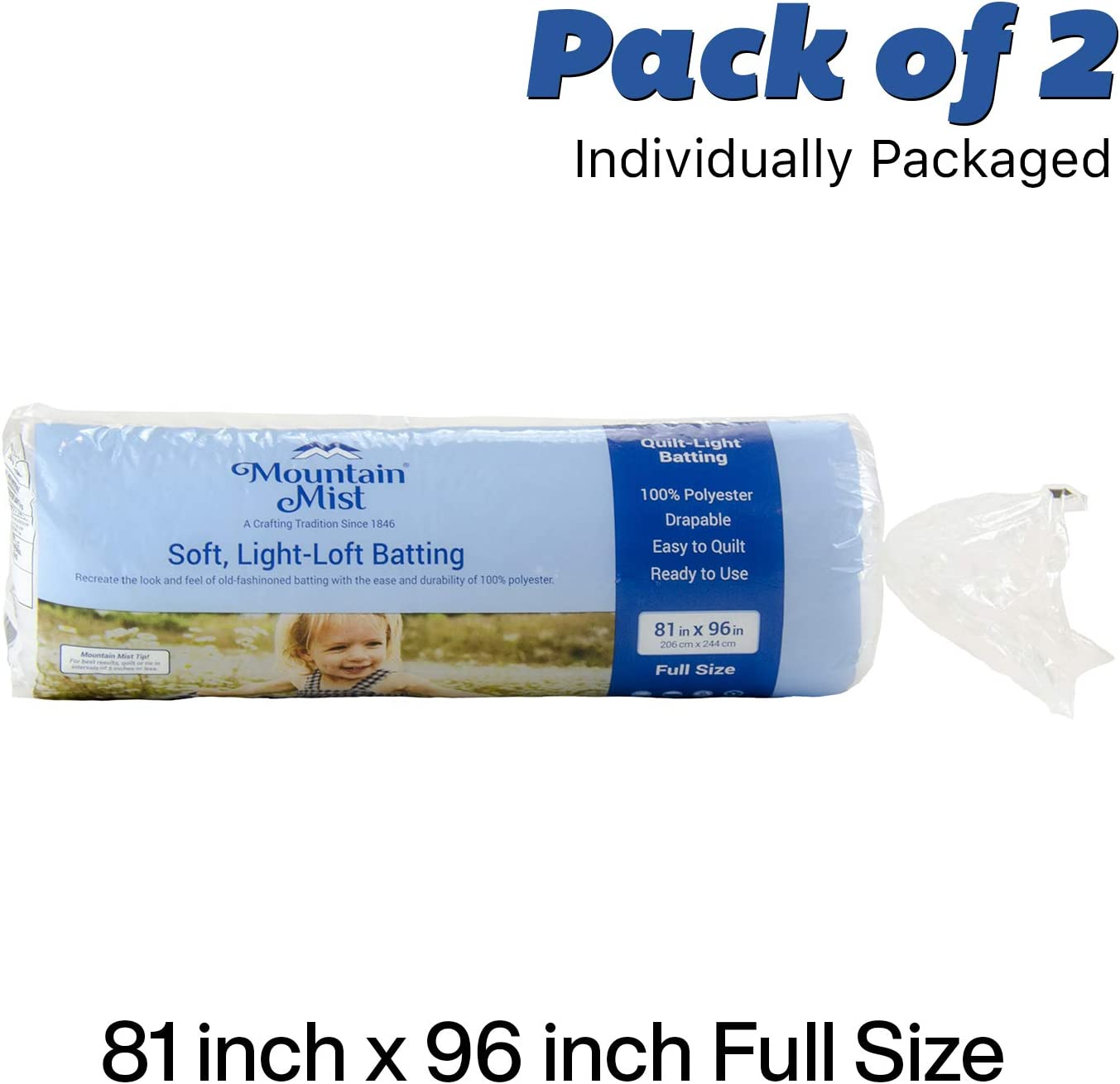 2-Pack Mountain Mist Quilt-Light Polyester Quilt Batting Full Size 81 x 96 Inches