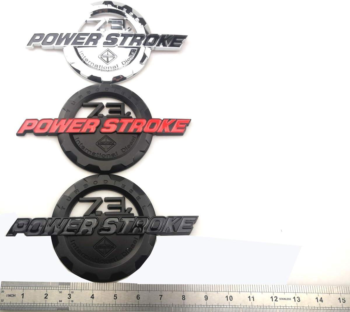 2 Pack 7.3L Power Stroke International Side Fender Emblems Badge Powerstroke Replacement for F250 F350 Black