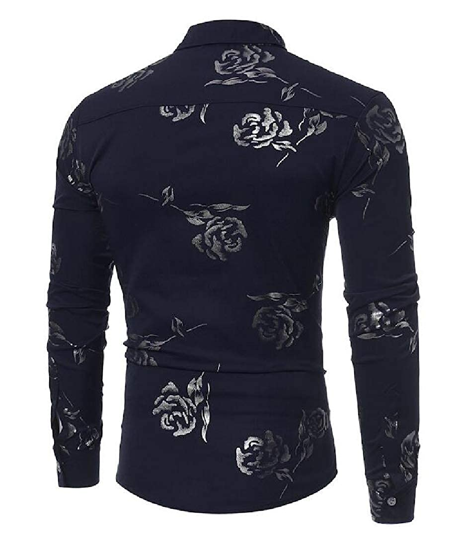 pipigo Mens Business Lapel Neck Slim Fit Floral Print Long Sleeve Button Down Shirts
