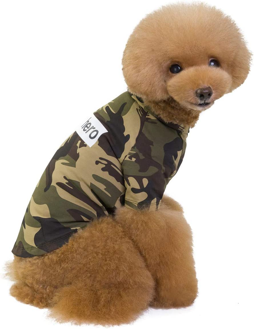 Weight 1.2-9.0 KGS Pet Heroic Puppy Dog Camouflage T-Shirts Summer Dog Puppy Basic Shirt Clothes Camouflage Pink Green Color Only for Small Dogs Cats Puppy