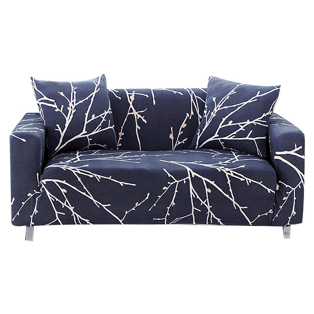 Excellent Enzer Stretch Sofa Slipcover Flower Bird Pattern Chari Loveseat Couch Cover Elastic Fabric Kids Pets Protector Navy Blue 1 Seater Tree Branch Spiritservingveterans Wood Chair Design Ideas Spiritservingveteransorg
