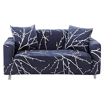 Cool Enzer Stretch Sofa Slipcover Flower Bird Pattern Chari Loveseat Couch Cover Elastic Fabric Kids Pets Protector Navy Blue 1 Seater Tree Branch Dailytribune Chair Design For Home Dailytribuneorg