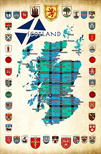 Scotland Tea towel Map of Scotland