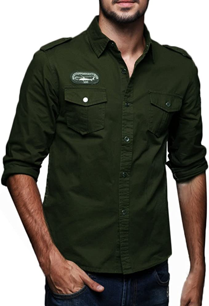 Men Military Army Shirt Tactical Long Sleeve Cargo T-Shirt Pocket Top Casual