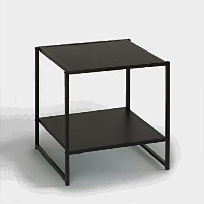 Edgy Side Table Espresso Black Storage Shelf Coffee Decor End Wooden Square Stand Modern Night Single Accent & eBook by Easy&FunDeals