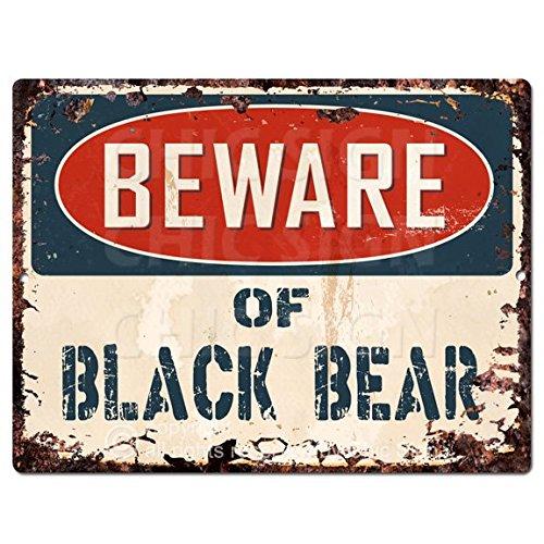 Beware of BLACK BEAR Chic Sign Vintage Retro Rustic 9