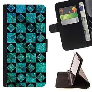 BullDog Case - FOR/Samsung Galaxy S5 V SM-G900 / - / wallpaper turquoise black design wall /- Monedero de cuero de la PU Llevar cubierta de la caja con el ID Credit Card Slots Flip funda de cuer
