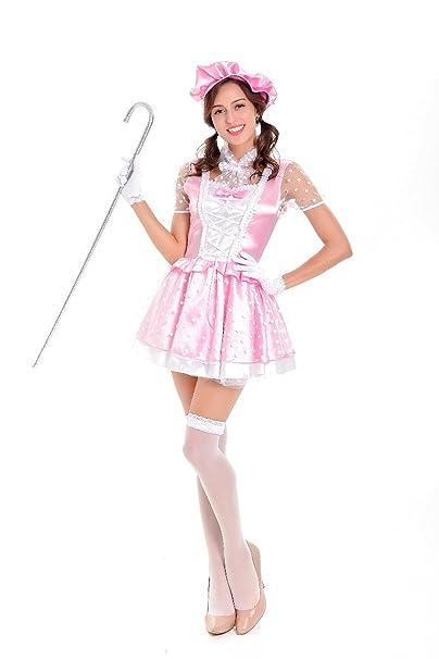 Amazon.com: Halloween rosa satén polka dot Princesa Maid ...