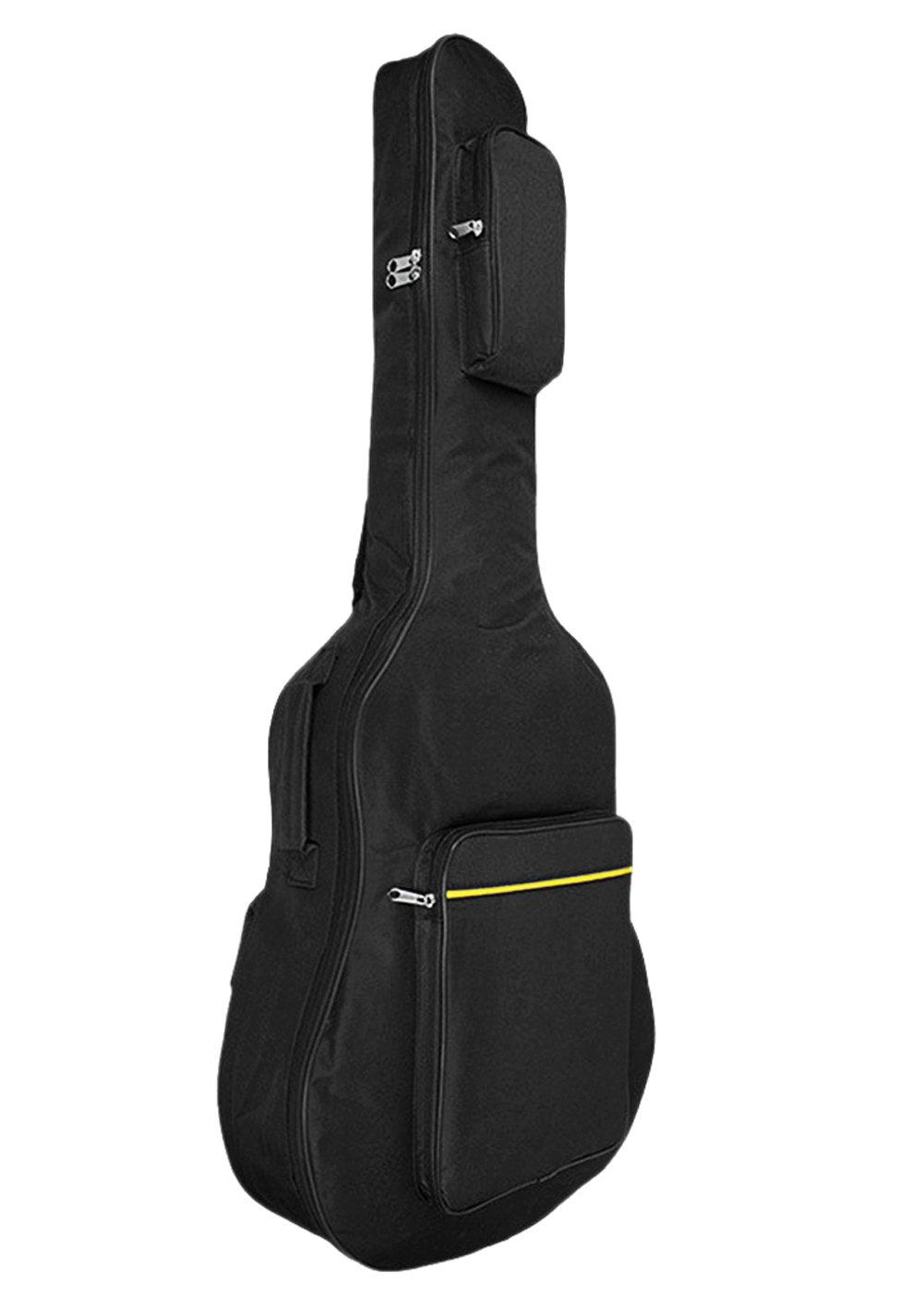 41 Inch Waterproof Oxford Acoustic Guitar Bag Durable Padded Gig Bag 2-Pocket Dual Adjustable Shoulder Straps Guitar Backpack Zippered Guitar Cover Case Storage Bag for Dust-proof Transport Travel