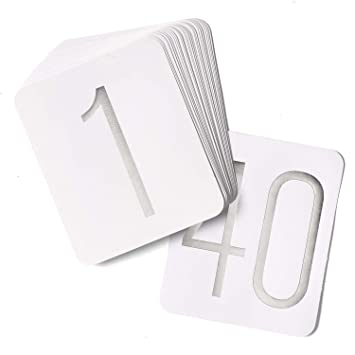 Hortense B Hewitt Wedding Accessories Table Numbers 1 Through 40 Silver Foil On White
