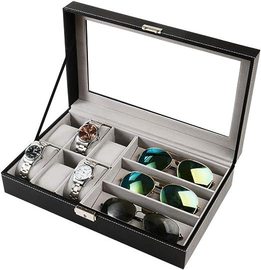 Caja de Reloj Caja de presentación de almacenamiento de reloj de cuero Caja de reloj Organizador