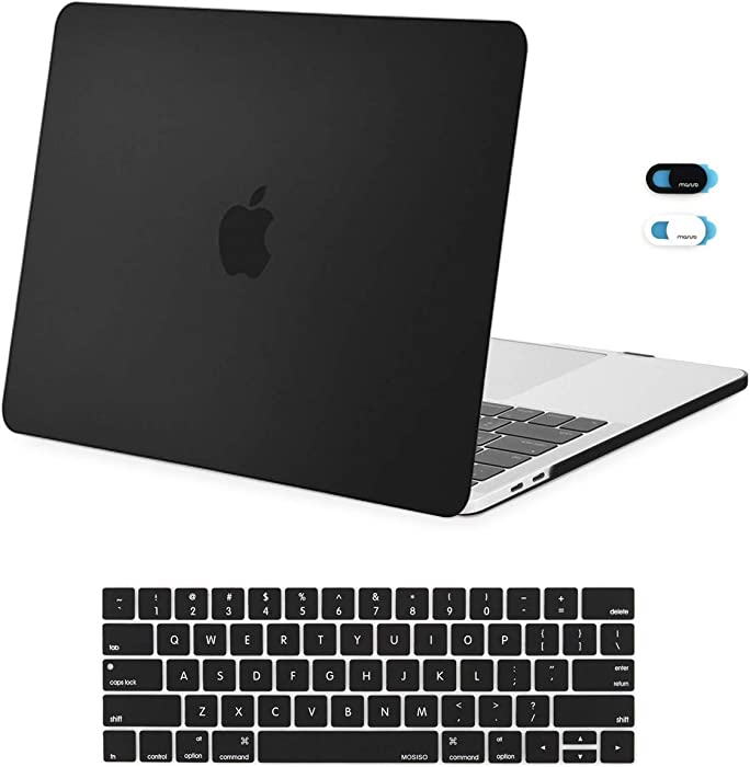 MOSISO MacBook Pro 13 inch Case 2019 2018 2017 2016 Release A2159 A1989 A1706 A1708, Plastic Hard Shell Case & Keyboard Cover Skin & Webcam Cover Compatible with MacBook Pro 13 inch, Black