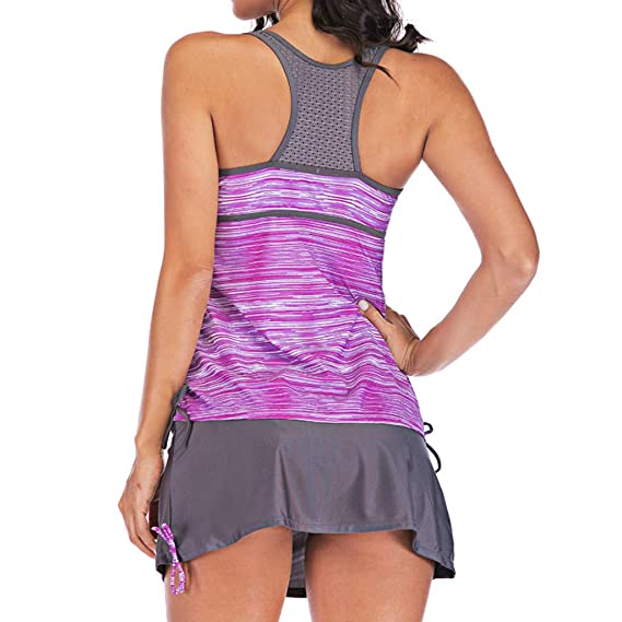 Lavany Womens Swimsuit 2 Pieces Sports Quick Dry Tops Swimwear with Swim Skirts