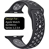 Taslar Replacement Band Strap for Apple Watch 42mm / 44mm Series 4, Series 3, Series 2, Series 1, Sport, Edition (Black Grey)