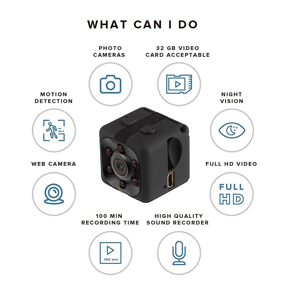 Espía cámara Oculta 1080P Cámara portátil Cube cámara de Seguridad Mini cámara de detección de Movimiento de visión Nocturna: Amazon.es: Electrónica