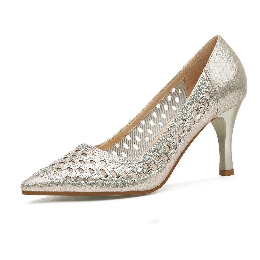 YUBIN Frühling High Heels Damenmode Neue Produkte Spitz Feine Hohl mit Hohle Einfarbig Shallow Sets von Fuß Schuhe Freizeitschuhe (Farbe   Gold, Größe   35)