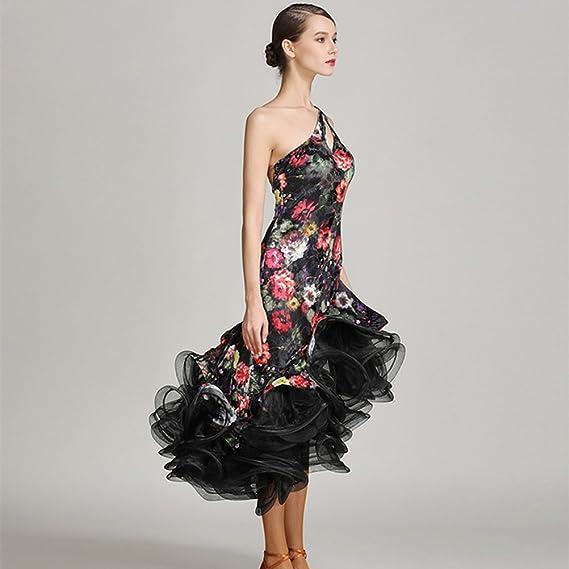 YILINFEIER Women Sexy Backless Exquisite South Korea Thin Velvet Fabric, Embroidery Flower Salsa Flamenco Ballroom Dance Dress at Amazon Womens Clothing ...