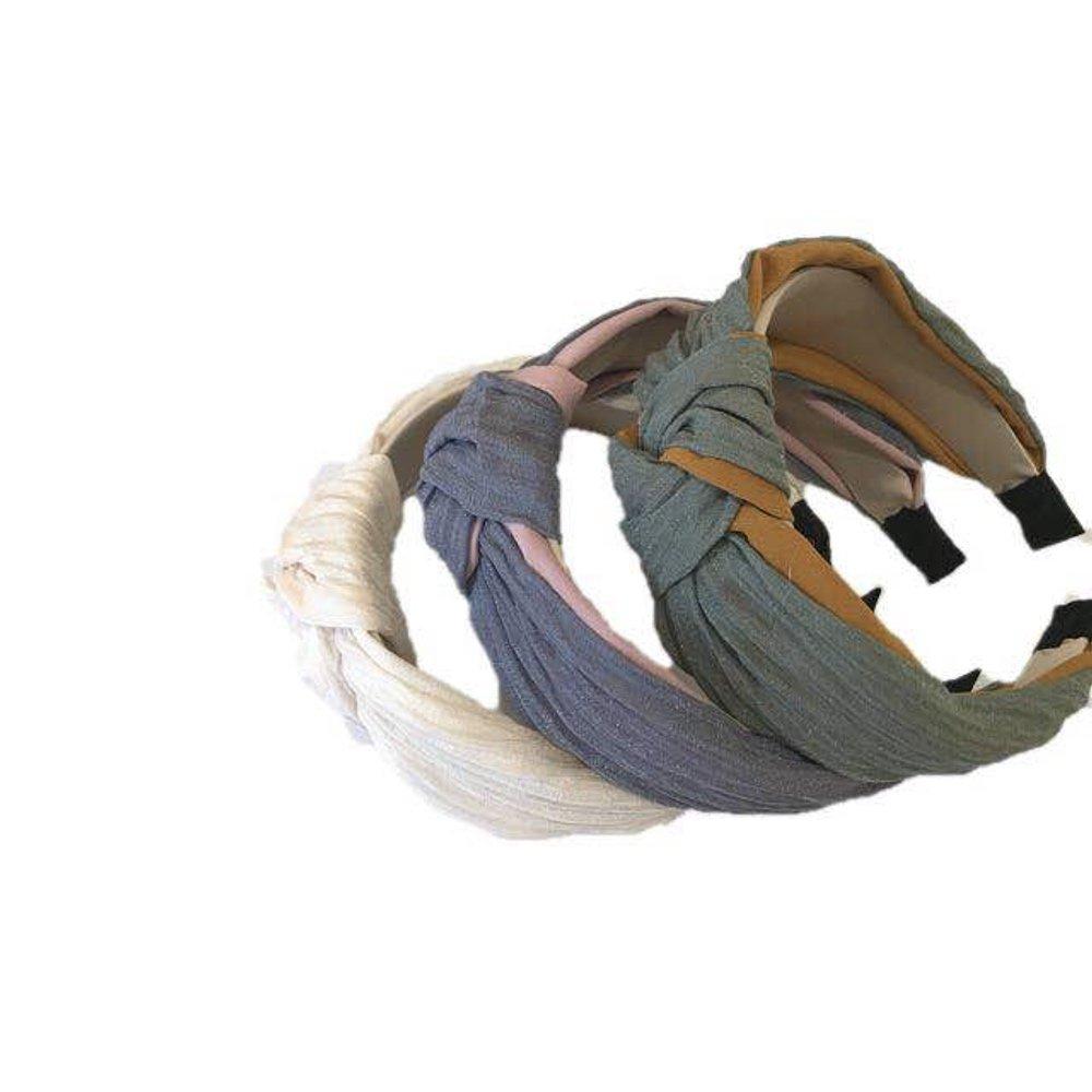 Bandeaux larges de 3 morceaux cerceau de cheveux d'élastique de remise en forme de noeud de Turban de noeud pour des femmes