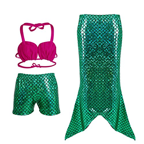 Tangpan Girl`s Three Pieces Mermaid Tail Bikini Set Swimsuit With Scaly Print 150 Green ()