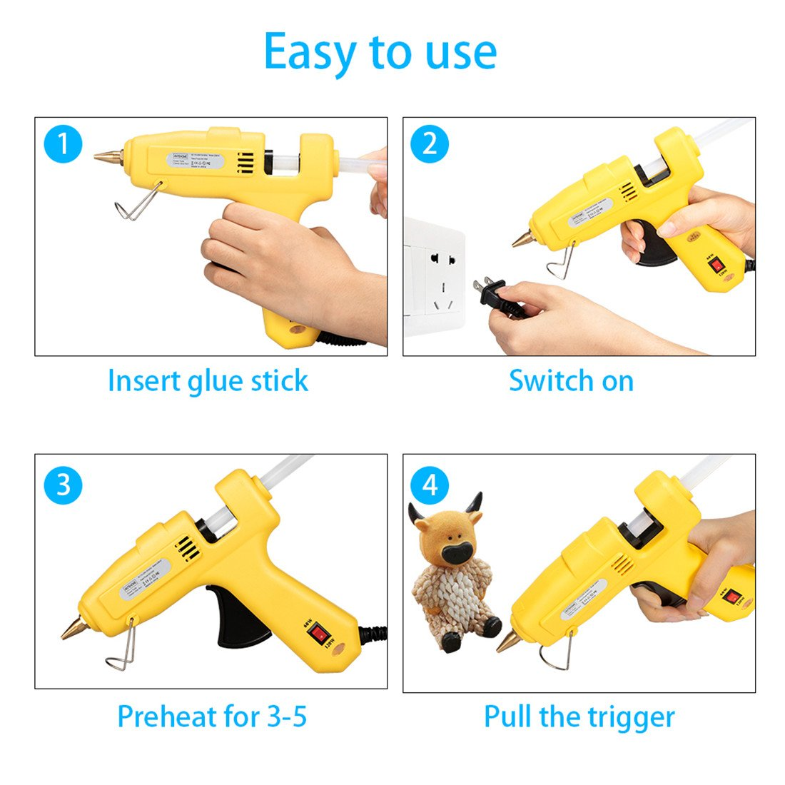 Hot Glue Gun,Antehome 60/120W Dual Power High Temperature Hot Melt Glue Gun with 15 pcs Glue Sticks,for DIY,Small Arts Craft Projects,Decoration and Gifts,Household (B) by Antehome (Image #5)