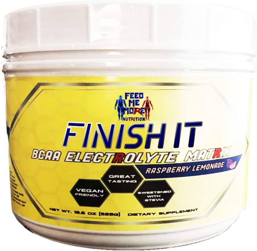 Finish It Premium Stevia BCAA Electrolyte Matrix Raspberry Lemonade 1 BCAA No Artificial Sweeteners Color