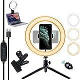 Yabely 10 pulgadas Luz de Anillo LED para selfie, Aro de luz led,Con dispositivo de clip de fijación humanizado, obturador re