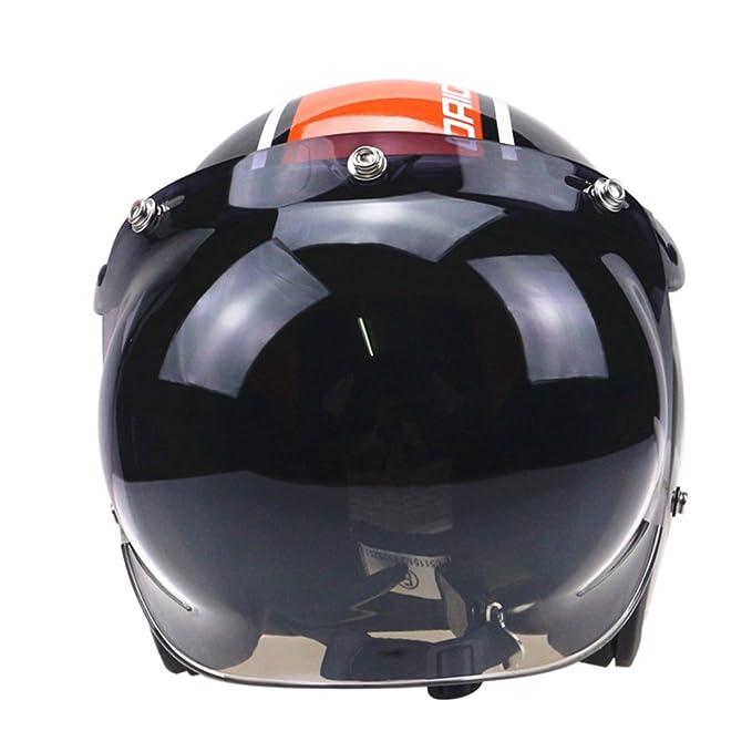 Amazon.es: KKmoon Visera de Casco Motocicleta Flip-up a Burbuja Casco Jet 3 Botones