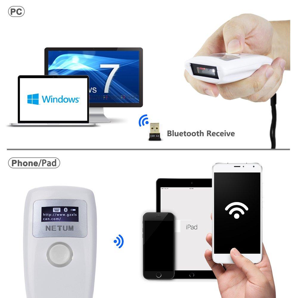 NT-Z2S NETUM Bluetooth QR 2D Barcode Scanner Wireless Bar Code Reader MaxiCode Daten Matrix PDF417 F/ür Android SPP und iOS HID